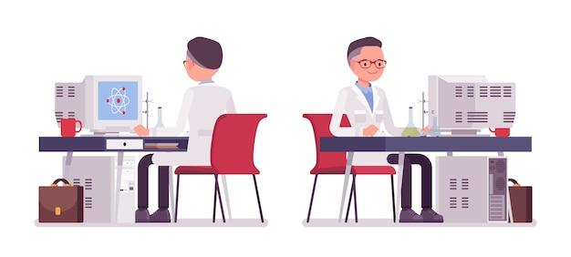 Scienziato maschio che lavora allo scrittorio Vettore Premium