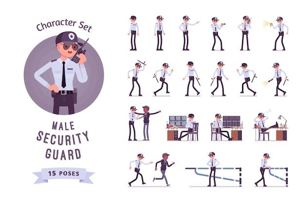 Set di caratteri di guardia di sicurezza maschile Vettore Premium