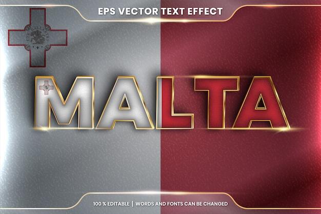 Malta con la sua bandiera nazionale del paese, stile effetto testo modificabile con concetto di colore oro sfumato Vettore Premium