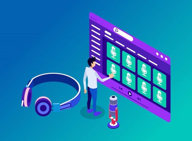 Un uomo che accede ai canali e ai contenuti del podcast da ascoltare in cuffia - illustrazione isometrica Vettore Premium