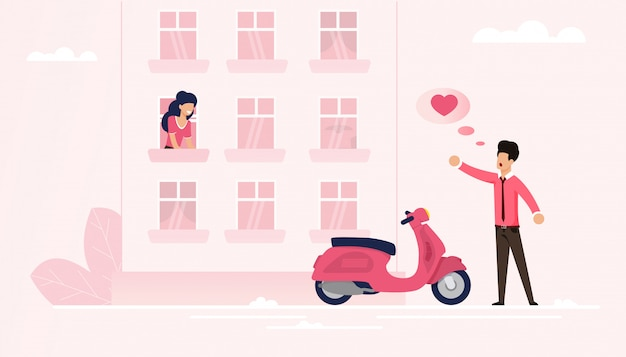 L'uomo arrivato sul ciclomotore dichiara il suo amore per soul mate Vettore Premium