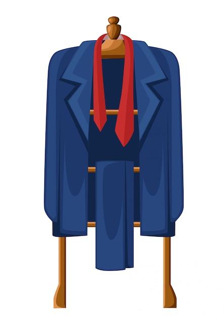 Abito blu uomo con cravatta rossa su appendiabiti in legno illustrazione su sfondo bianco Vettore Premium