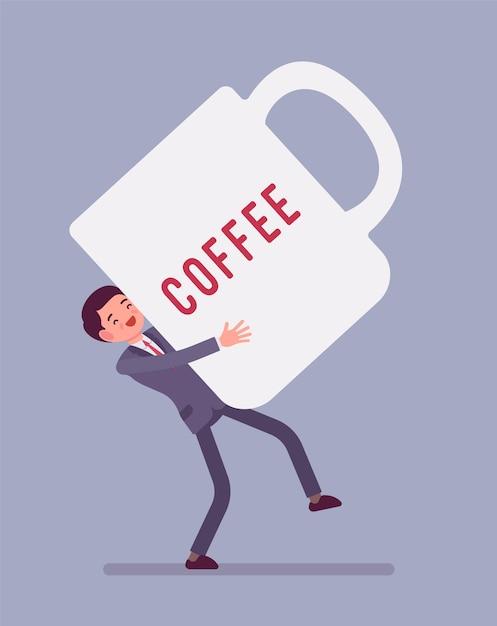 Uomo che porta una tazza di caffè gigante Vettore Premium