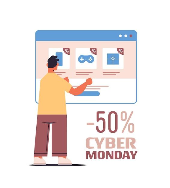 Uomo che sceglie gli acquisti nella finestra del browser web shopping online cyber lunedì vendita sconti vacanze concetto di e-commerce Vettore Premium