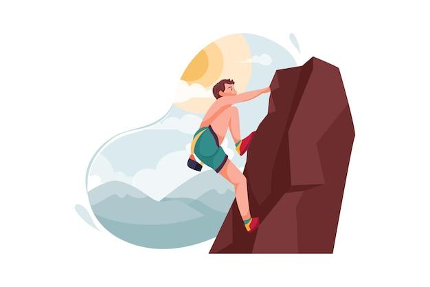 Uomo che si arrampica sull'illustrazione della montagna Vettore Premium