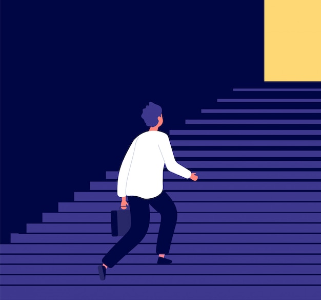 L'uomo salire i gradini. successo nella sfida di sviluppo personale di crescita di carriera dell'uomo d'affari ambiziose aspirazioni al concetto di vettore di obiettivi Vettore Premium
