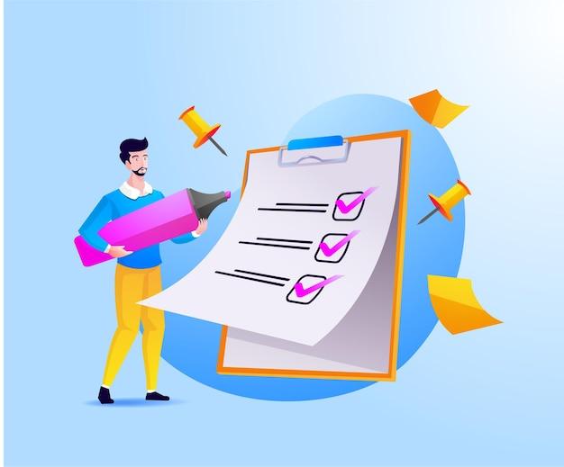 Un uomo completa la lista di controllo su appunti e scartoffie Vettore Premium