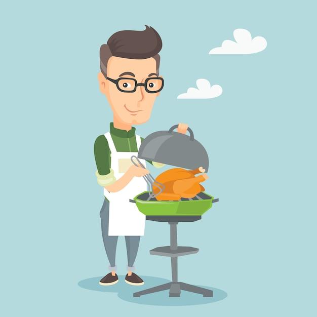 Uomo che cucina pollo sulla griglia del barbecue. Vettore Premium