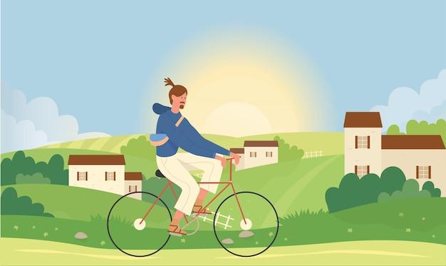 Uomo in bicicletta in estate natura paesaggio illustrazione vettoriale. bicicletta di guida del giovane personaggio maschile attivo del fumetto vicino al villaggio di piccola città. Vettore Premium