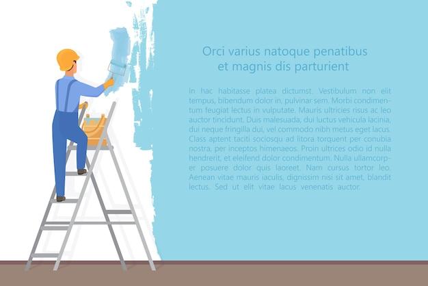 Pittore decoratore uomo con un rullo di vernice che dipinge una parete colorata. concetto di processo di aggiornamento e riparazione. Vettore Premium
