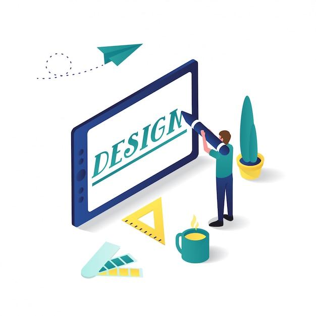Uomo che progetta con la compressa nell'illustrazione isometrica di progettazione grafica 3d. Vettore Premium