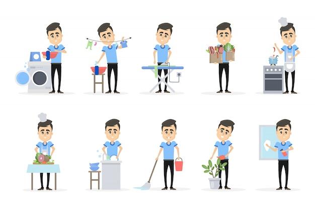 Uomo che fa insieme della famiglia. lavaggio e pulizia Vettore Premium