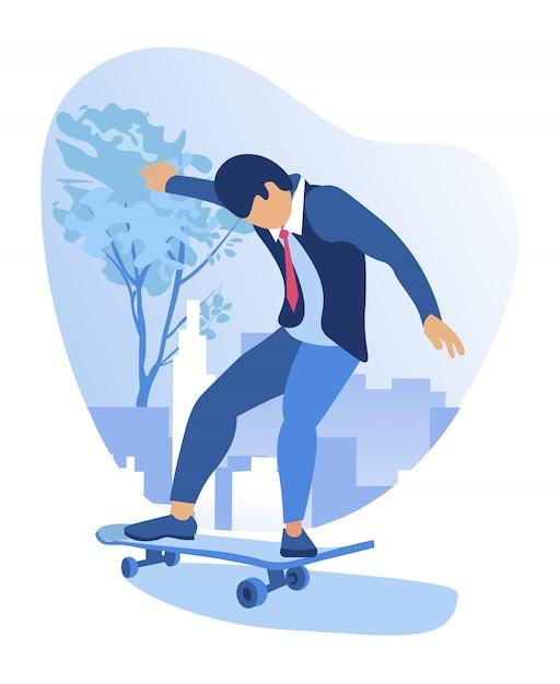 Uomo vestito elegante, divertendosi, pattinando come un bambino Vettore Premium