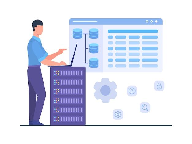 Equipaggi il lavoro del supporto dell'ingegnere sul tec del internet di memoria di servizio del server di database di manutenzione del computer portatile. Vettore Premium