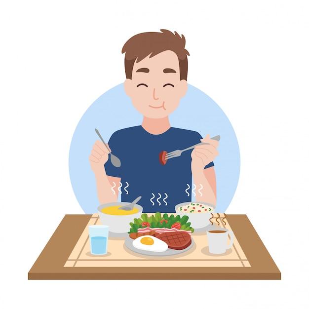 L'uomo piace mangiare cibi caldi e puliti Vettore Premium