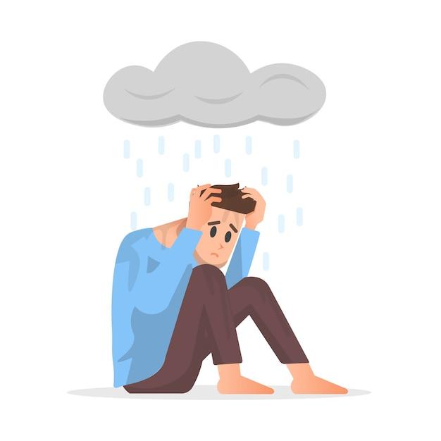 Un uomo si sente depresso isolato su bianco Vettore Premium
