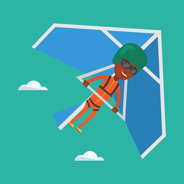 Volo dell'uomo sull'illustrazione di vettore del deltaplano. Vettore Premium