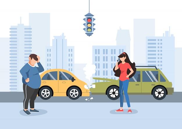 L'uomo e la ragazza hanno avuto un incidente stradale Vettore Premium