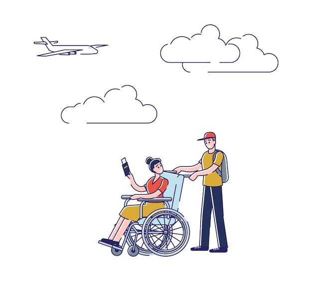 Uomo e ragazza in sedia a rotelle che camminano a bordo dell'aereo. maschio che aiuta la donna invalida che tiene biglietto e passaporto in aeroporto Vettore Premium