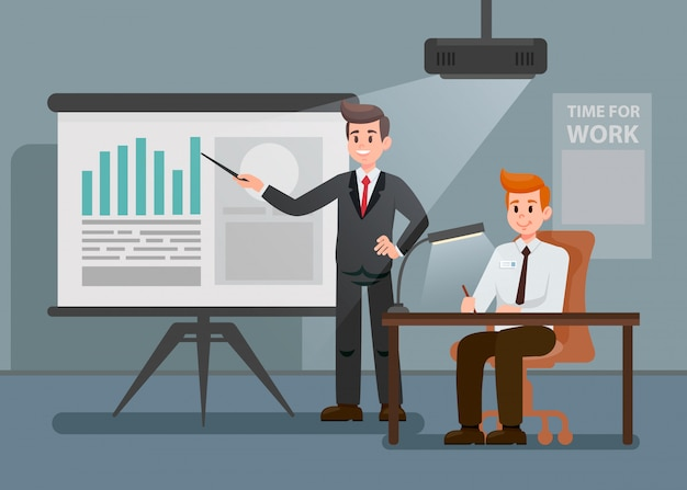 Man giving presentation flat cartoon illustration Vettore Premium