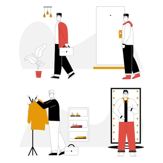 L'uomo va a lavorare in completo con valigetta, appende il cappotto su un appendiabiti, si trasforma in un abito comodo a casa. Vettore Premium