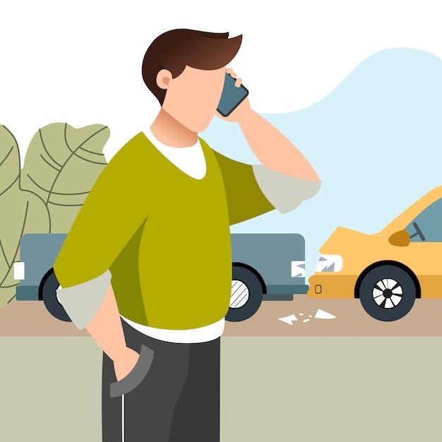 L'uomo ha avuto un incidente d'auto. assicurazione automobilistica. ragazzo che chiama dal telefono cellulare cellulare. illustrazione piatta. Vettore Premium