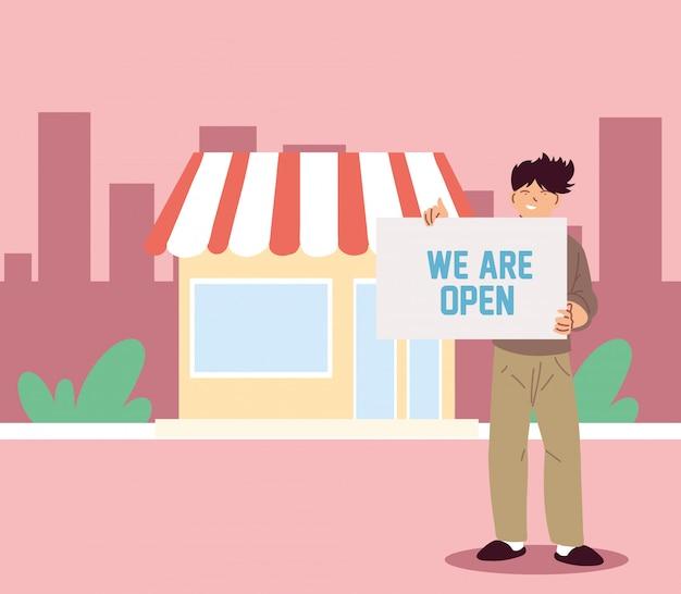 Uomo nella sua attività locale con banner aperto Vettore Premium