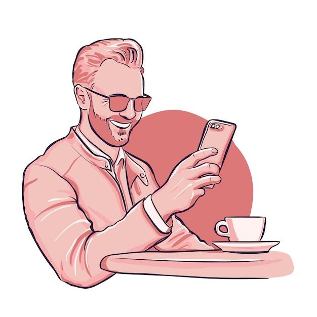 L'uomo ha una videochiamata su smaptphone Vettore Premium