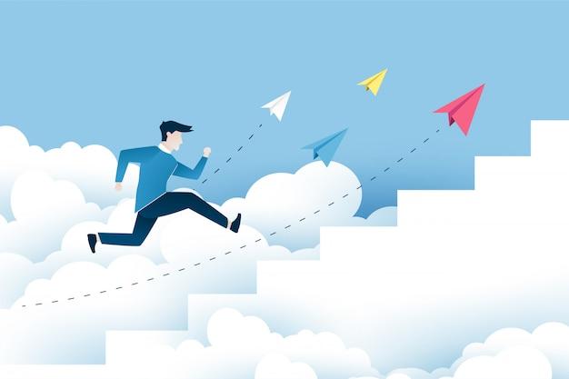 Un uomo sta saltando sulle scale, passi verso il successo. Vettore Premium