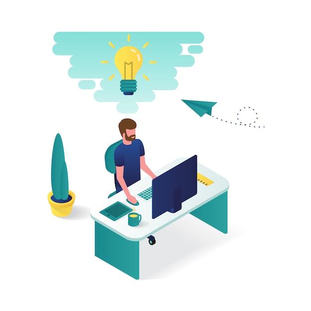 L'uomo sta lavorando sulla sua scrivania in graphic design 3d isometrico illustrazione. Vettore Premium