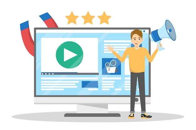 Uomo che fa promozione di video blog. pubblicità dei contenuti Vettore Premium