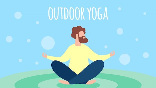 Uomo che medita yoga all'aperto nella posa del loto Vettore Premium