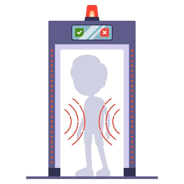 L'uomo passa un metal detector all'aeroporto. scansionare una persona attraverso. piatto Vettore Premium
