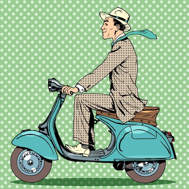 Uomo cavalca uno scooter d'epoca Vettore Premium