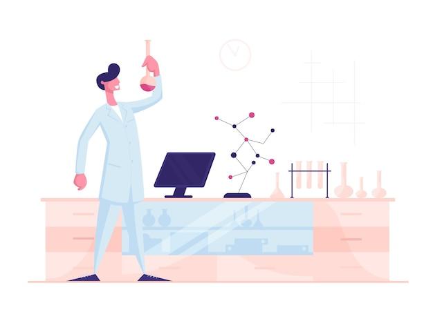 Uomo scienziato che indossa camice bianco che tiene il becher conducendo esperimento chimico Vettore Premium