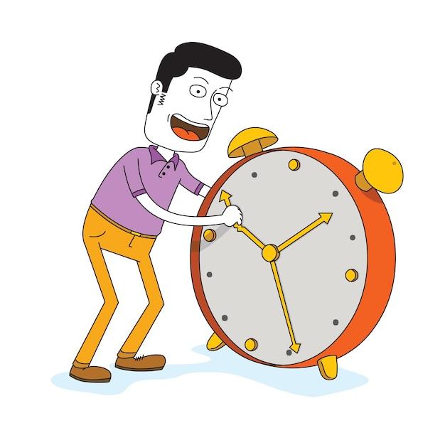 Uomo che imposta un grande orario di allarme Vettore Premium