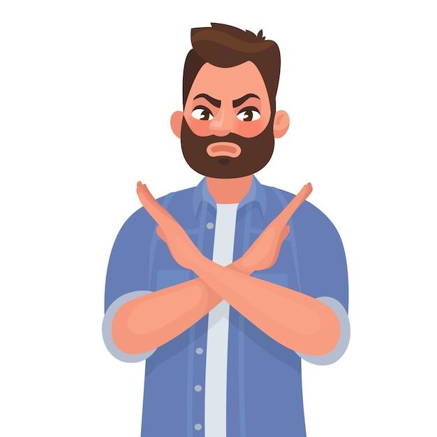 L'uomo mostra un gesto no o stop. Vettore Premium