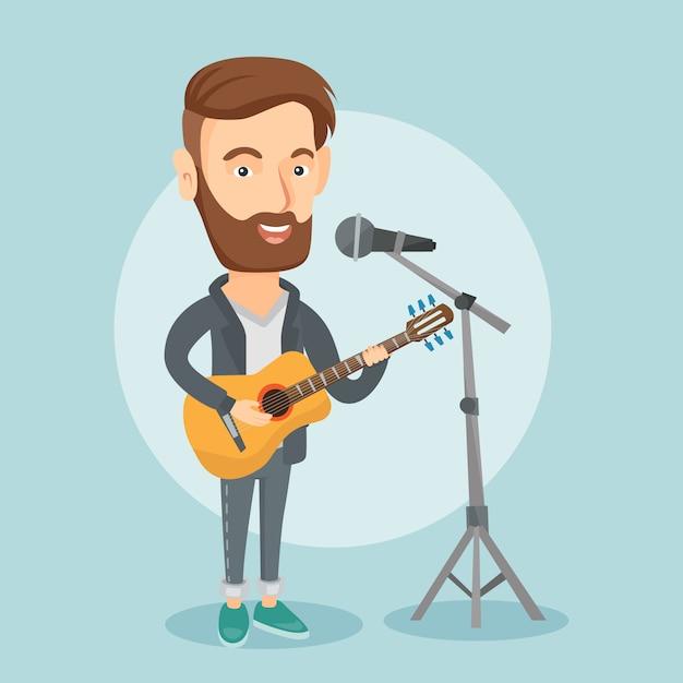 Uomo che canta nel microfono e suonare la chitarra. Vettore Premium