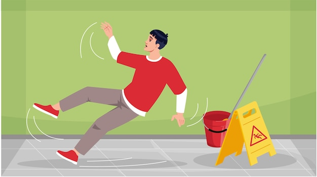 L'uomo è scivolato sull'illustrazione dei semi del pavimento bagnato Vettore Premium