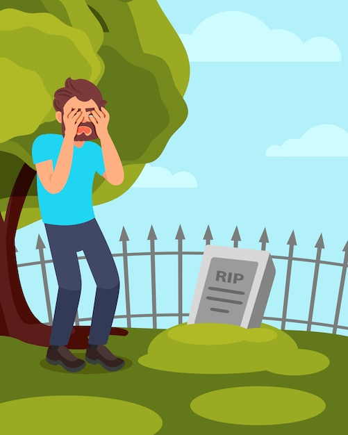 Uomo in piedi vicino alla pietra tombale e piangere. ragazzo in lutto in visita alla tomba. albero verde, recinzione e porcile blu su sfondo. Vettore Premium