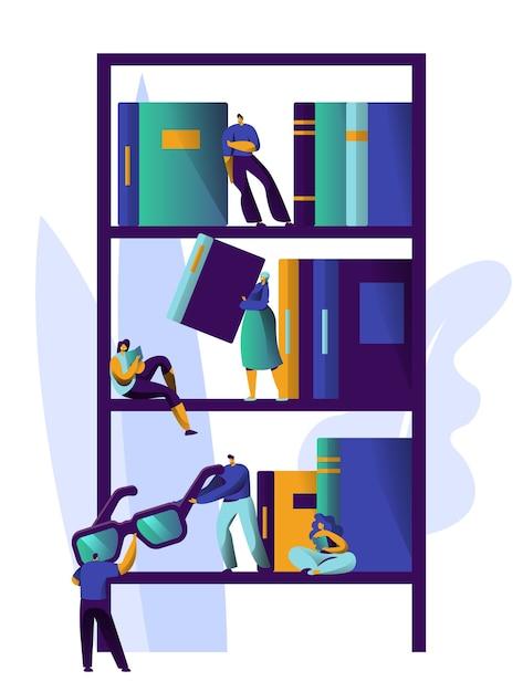 Uomo che studia letteratura alla libreria book shelf. collezione magazine bookcase design. la gente si rilassa nella libreria accademica alla pila di informazioni della libreria dell'università. illustrazione di vettore del fumetto piatto Vettore Premium