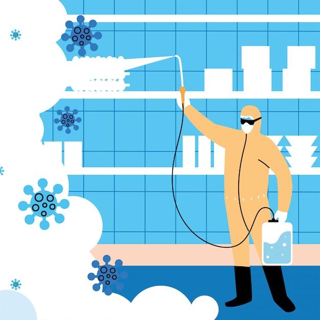 L'uomo in tuta disinfettare l'industria Vettore Premium