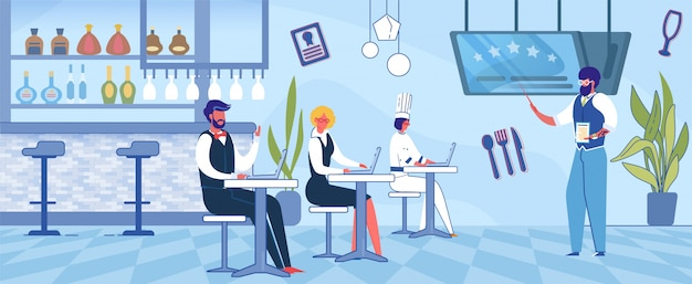 Man teaching restaurant workers, franchising. Vettore Premium