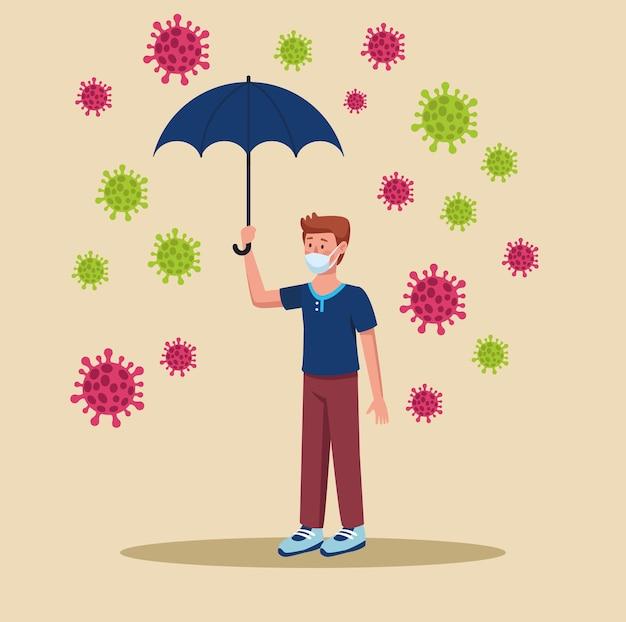 Uomo che indossa una maschera medica con ombrello e illustrazione di particelle Vettore Premium