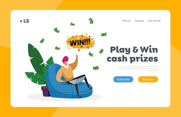 L'uomo vince soldi nel modello della pagina di destinazione di internet Vettore Premium