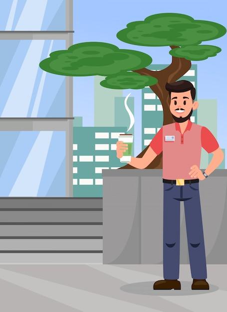 Uomo con l'illustrazione di vettore di colore di caffè caldo Vettore Premium