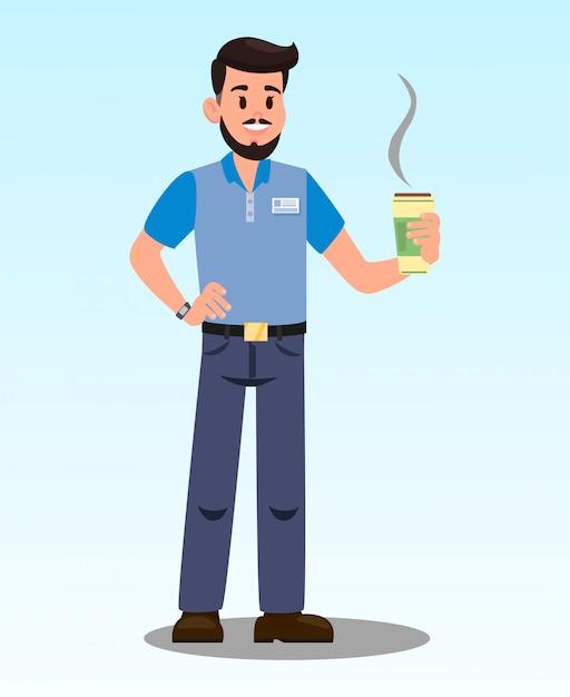 Uomo con l'illustrazione di vettore del fumetto di latte caldo Vettore Premium