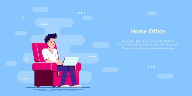 Uomo con il portatile seduto sulla sedia e lavorando. Vettore Premium