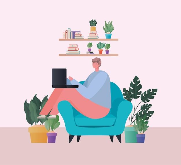 Uomo con il computer portatile che lavora alla progettazione della sedia blu del tema del lavoro da casa Vettore Premium