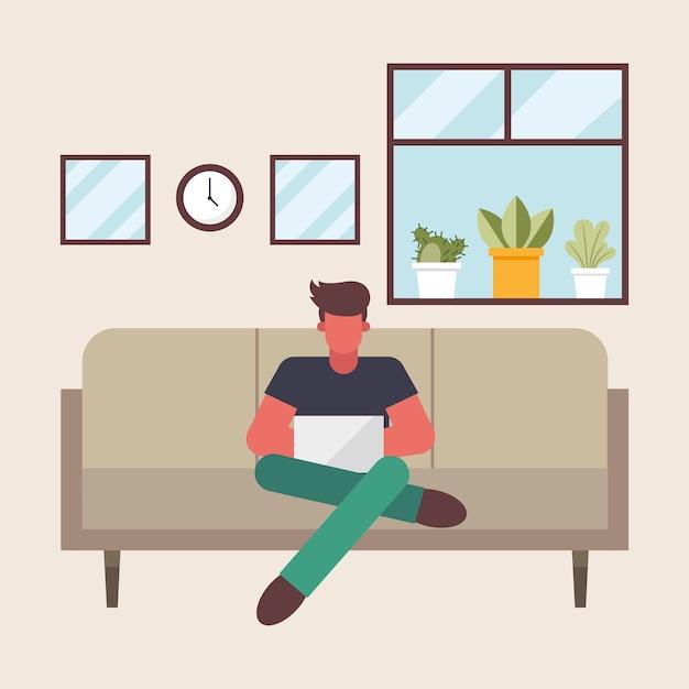 Uomo con il computer portatile che lavora sul divano da casa design del tema del telelavoro illustrazione vettoriale Vettore Premium